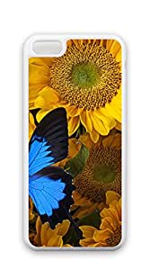 TUTU158600 Customized Dual-Protective iphone 5c case for men - Sunflower and blue butterfly