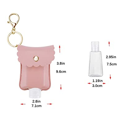 Travel Bag Empty Travel Bottle Holder for Hand Sanitizer /& Essential Oil Brown SANJINFON Portable Squeeze Bottles 2oz with Leather Case Keychain Refillable Bottle Clips to Diaper Bag