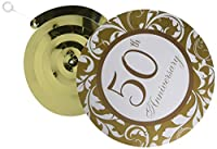 "Amscan Elegant Decorative Swirl Anniversary Party Supplies, 24 x 18"", Gold/White"