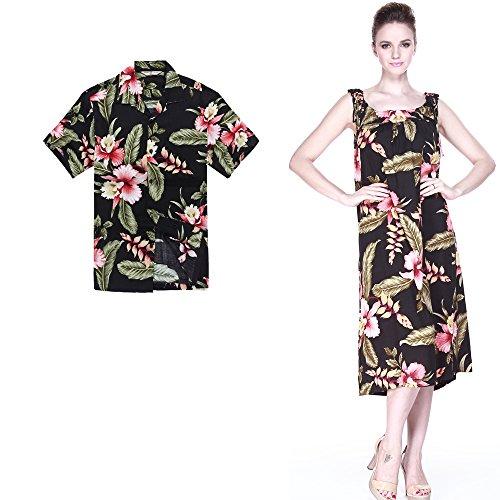 [Couple Matching Hawaiian Luau Outfit Aloha Shirt Melani Dress in Black Rafelsia Men XL Women 2XL] (Hawaiian Hula Outfits)