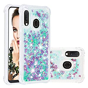 Galaxy A20 Glitter Gel Case, Galaxy A30 Waterfall Glitter Case, 3D Bling Glitter Quicksand Liquid Floating Gel Rubber Silicone TPU Transparent Phone Back Case Cover Compatible with Samsung A30/A20