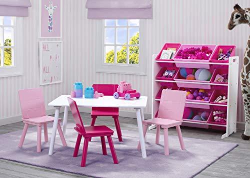 51FtFlZ5dbL - Delta Children Kids Toy Storage Organizer with 12 Plastic Bins, White/Pink