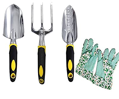 Garden Hand Tool Set ,VSANNSZ 4 Piece Softouch Garden Tool Set(Rake, Shovel, Measuring Shovel,Garden Gloves)for Digging Weeding