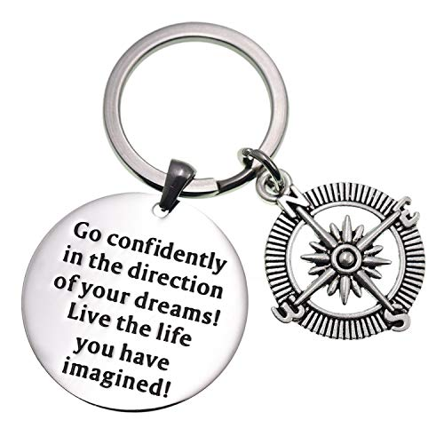 LParkin 2019 College Graduation Gifts Go Confidently in The Direction of Your Dreams Keychain Stainless Steel
