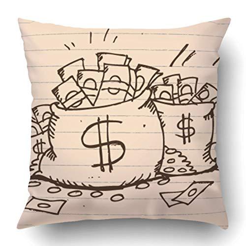 Kidmekflfr Throw Pillow Covers White Sketch Doodle Sketchy Bag Full Money Hand Dollar Drawn Cartoon Investment Box Million Polyester 18 X 18 Inch Square Hidden Zipper Decorative ()
