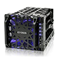 """ICY DOCK Black Vortex MB074SP-1B 4 Bay 3.5"""" SATA Hard Drive Backplane Cooler Cage with 120mm Front LED Fan in 3x 5.25"""" Bay (INTERNAL SATA)"""
