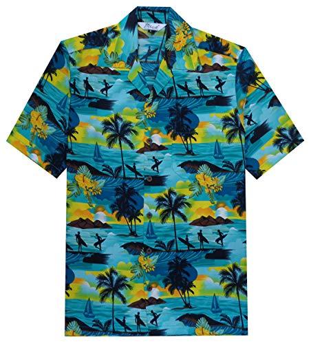 Alvish Hawaiian Shirt 43 Mens Allover Scenic Party Aloha Holiday Beach Turquoise 3XL
