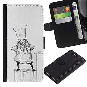 Be-Star la tarjeta de Crédito Slots PU Funda de cuero Monedero caso cubierta de piel Sony Xperia Z3 Compact ( Cook Pencil Drawing Hat Small Man Kitchen )