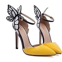 LIANGXIE Señoras Finas con Zapatos de tacón Alto Sexy de tacón Alto-Color Puro Sueño alas de ala de Mariposa Tacones cómodos Zapatos Zhhzz