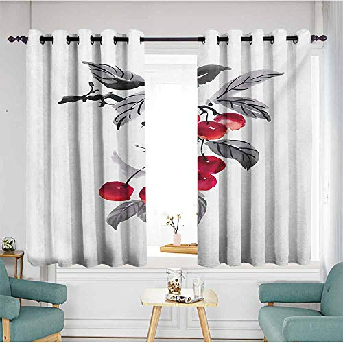 AndyTours Grommet Window Curtains,Rowan Branch of Rowan with Fruit in Watercolor Mountain Wild Nature Foliage Artwork,Insulated with Grommet Curtains for Bedroom,W55x39L,Grey Red Black ()