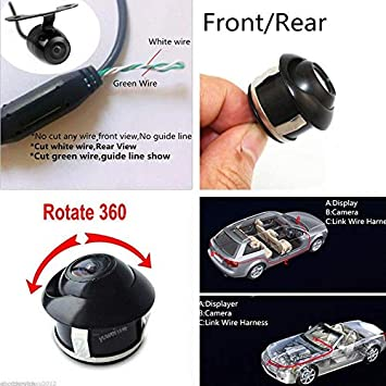 HD 360 Degree Rotatable CCD RONSHIN Reverse Car Front//Side//Rear View Backup Camera Black