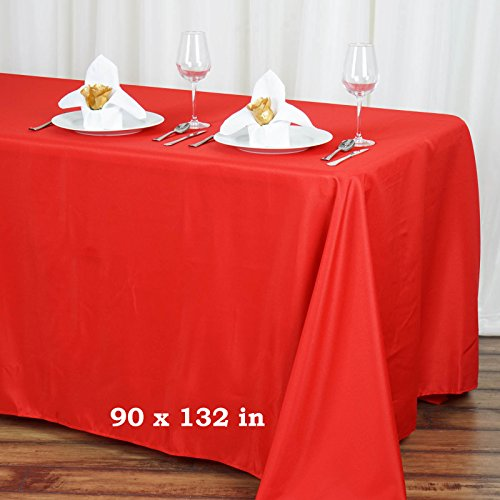 LinenTablecloth Polyester Tablecloth 90-Inch By 132-Inch, Red (Red Table Clothes)