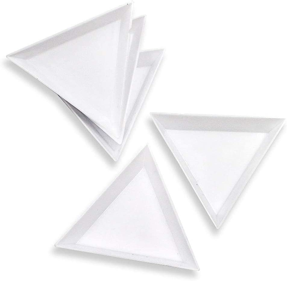 """5 White Plastic Sorting Trays Scoops Triangular for Beads Gems Crystals Nails 3/"""""""