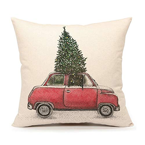 4TH Emotion Christmas Tree and Red Car Throw Pillow Cover Home Decorative Cushion Case 18 x 18 Inch Cotton Linen for…