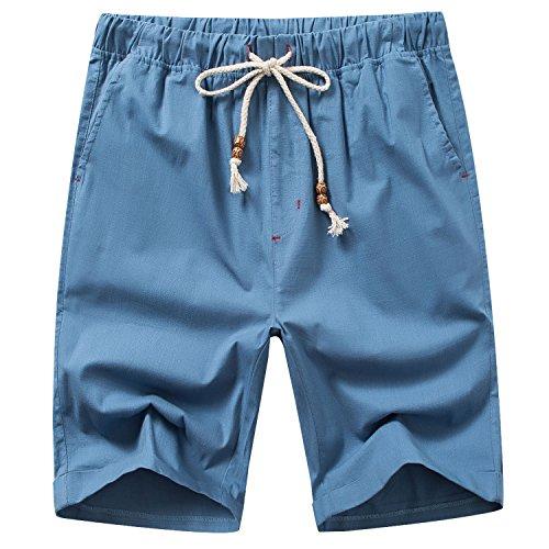 Manwan walk Men's Linen Casual Classic Fit Short B311 (XX-Large, Denim Blue)