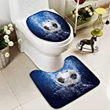 Analisahome Toilet carpet floor mat Water drops around soccer ball on blue background 2 Piece Shower Mat set