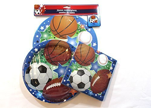 All Sports Theme 3-Pieces Birthday Party Pack - Plates, Napkins, Centerpiece