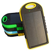 5000mAh Solar Battery Panel Dual USB Port Rain-resistant, Dirtproof and Shockproof Portable Charger Backup External Battery Pack Power Bank for iPhone 5S, 5C, 5, iPhone 4S, 4,iPad Air, Mini (Apple Adapters not Included) Samsung Galaxy S5, S4, S3, S2, Note 3, Note 2, HTC New one, M7, Android Smartphone and Tablets, Window Phones and More Other Devices(Green)