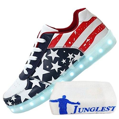 (Present:kleines Handtuch)JUNGLEST 7 Farbe LED Leuchtend Sport Schuhe USB Aufladen Turnschuhe für Unisex Herren Da Sterne