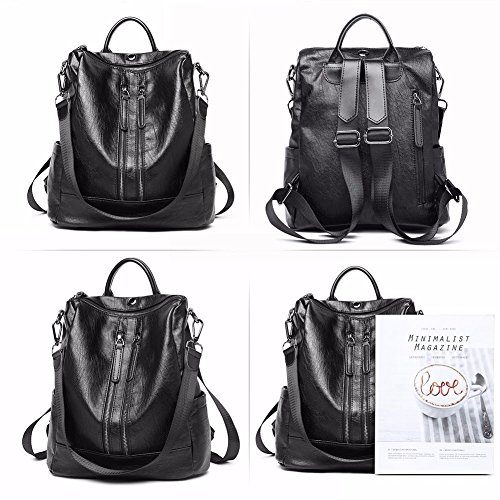 MSZYZ Travel Backpack Pu Detachable Ladies Holiday Black Leather Purse gifts Shoulder Women Casual Fashion Bag wqarpw