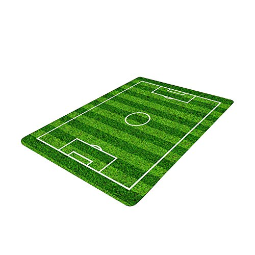 Small Soccer Ball Rug - Soccer Field Ground Area Rug, Football Soccer Field Play Modern Carpet Floor Rugs Mat for Children Kids Home Living Dining Room Playroom Decoration size 50x80cm
