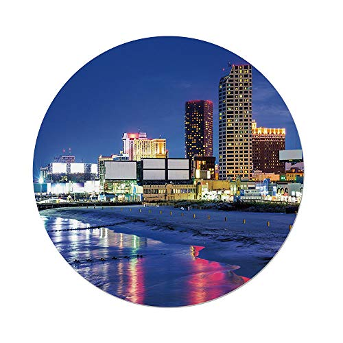 iPrint Polyester Round Tablecloth,City,Resort Casinos on Shore at Night Atlantic City New Jersey United States,Violet Blue Pink Yellow,Dining Room Kitchen Picnic Table Cloth Cover Outdoor Indoor -