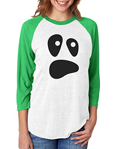 Funny Ghoul Face Halloween Ghost Costume 3/4 Women Sleeve Baseball Jersey Shirt X-Large green/white