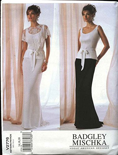 Vogue Sewing Pattern 2776 Misses Size 20-22-24 Badgley Mischka 2-piece Evening Gown Formal Dress (Patterns Gown Vogue Evening)