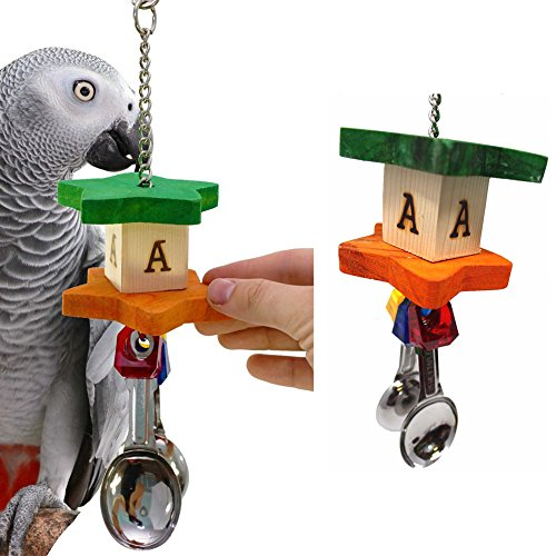 (CqmzpdiC Parrot Toy, Cage Hanging Decor, Safe, Non-Toxic Parrot Bird Stainless Steel Soup Spoon Building Block Chew Bite Toys Cage Decor - Random Color)