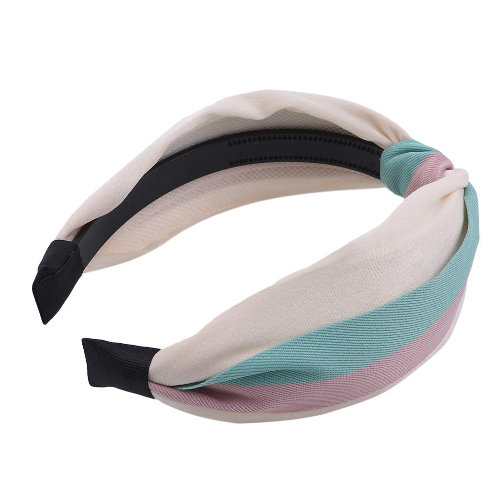 Yunzee 1PCS Women Wide Stripes Twisted Cross Knot Hairband Headband Cute Elastic Hair Accessories for Women and Girls 21 Colors