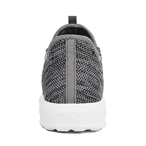 Grigio Scarpe da da Ginnastica Leggeri Sportivi Sneakers Scarpe QANSI Confortevoli Bianco Uomo Corsa z81PAP