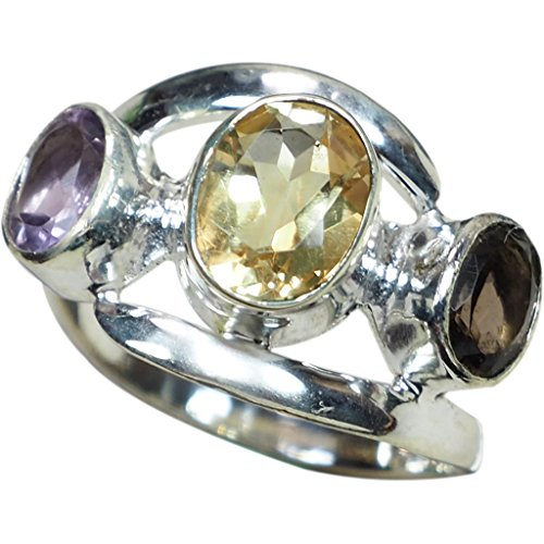 Natural Citrine Smoky Quartz Crystal - CZgem 925 Sterling Silver Citrine, Amethyst, Smoky Quartz Ring Natural crystal Band Ring Gift US Size 8