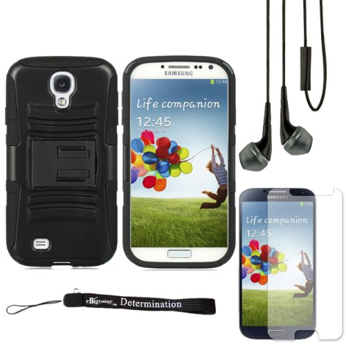 Black Hybrid Dual Skin with Back Snap On Case and Stand For Samsung Galaxy S4 Android Smartphone 4G LTE (Jelly Bean) + Samsung Galaxy S4 Screen Guard Protector + Black Crystal Clear High Quality HD Noise Filter Handsfree Earbuds ( 3.5mm Jack ) + an eBigValue TM Determination Hand Strap (Verizon 4g Lte Smartphone Cases)