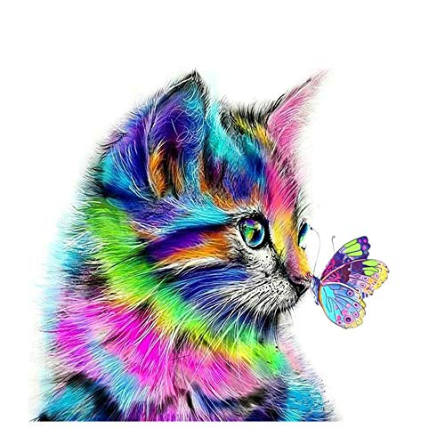 Cute Cat&Butterfly 5D DIY Diamond Painting,Crystal Rhinestone Diamond Embroidery Paintings Pictures Arts Craft for Home Wall Decor,Multiolor (A)