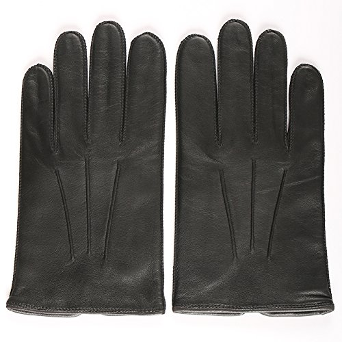 Magelier Men's Basics Genuine Nappa Leather Soft Lined Windproof Motorcycle Car Driver Riding Casual Dress Glove,Black,US 10 Basic Riding Gloves