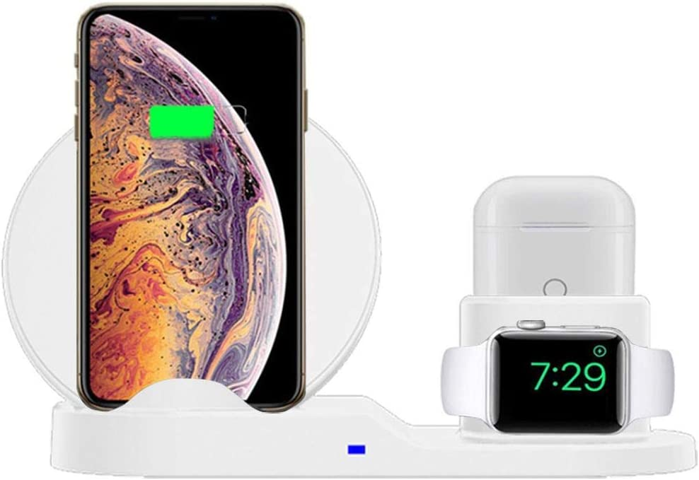 ASEDRF 3 In1 Wireless Fast Charger Stand Compatible for Iwatch Series 4/3/2/1,Airpods,Wireless Charging Station Pad for iPhone Xs/X Max/XR/X/8/8Plus/7/7Plus Ipad,Charging Dock,A