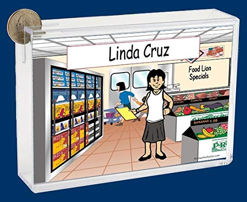 Personalized NTT Cartoon Side Slide Frame Gift: Grocery Store Female Gift, Grocery, Bagger, Checker, Cashier, Stocker