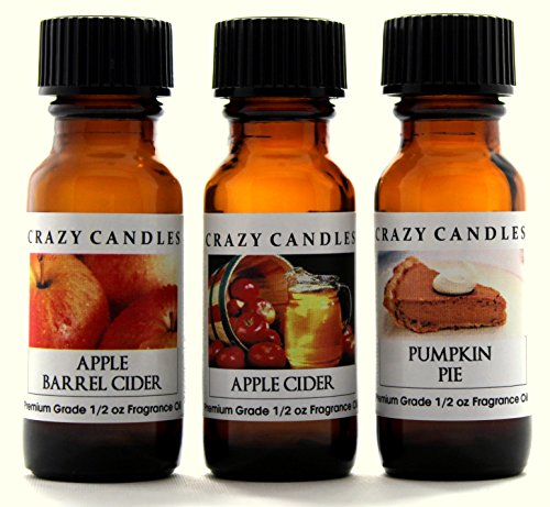 Crazy Candles 3 Bottles Set, 1 Apple Barrel Cider, 1 Apple Cider, 1 Pumpkin Pie 1/2 Fl Oz Each (15ml) Premium Grade Scented Fragrance Oils By ()