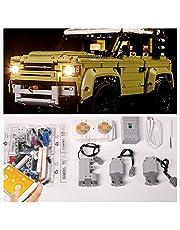 PPTOOL Motor en afstandsbediening set voor Lego 42110 Technic Land Rover Defender+LED verlichting Kit compatibel met Lego Land Rover (Lego Set niet inbegrepen)