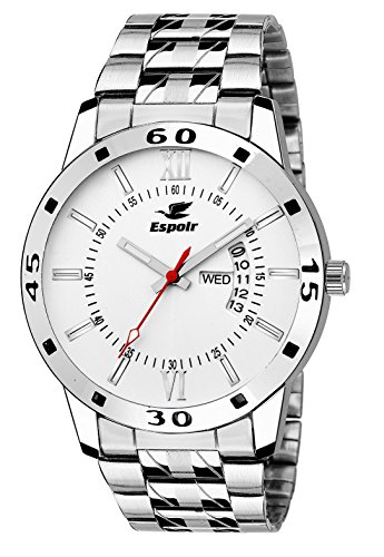 Espoir Exclusive Day & Date Display Analog White Dial Stainless Steel Men's Watch – WDD0507, Medium