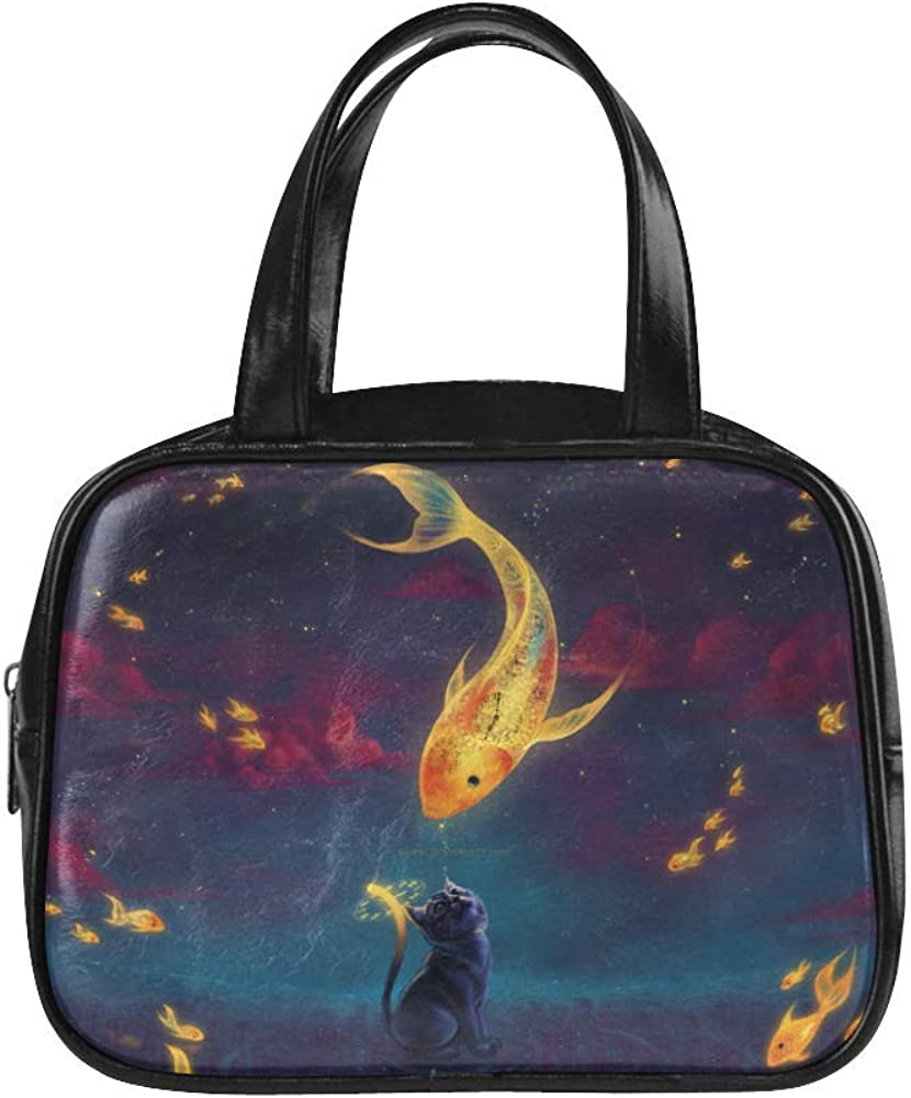 Tote Bags Cat And Whale For Women PU Leather Shopping Beach Hobo Bags Black