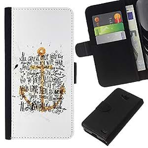 KLONGSHOP // Tirón de la caja Cartera de cuero con ranuras para tarjetas - Ancla de Oro Amarillo Blanco Texto Negro - LG OPTIMUS L90 //