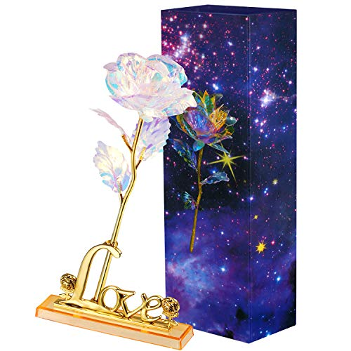 Zonon Galaxy Rose Artificial Rose Flower Plastic Colorful Rose with Love Shape Base for Valentine's Day, Mother's Day, Thanksgiving, Birthday, Anniversary, Wedding Gifts Supplies