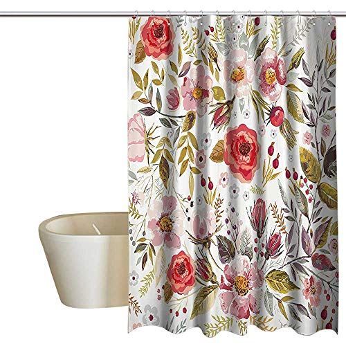 Suchashome Vintage Kids Bathroom Shower Curtain Floral Theme Hand Drawn Romantic Flowers and Leaves Illustration Shower Curtain Cool W72 x L84 Light Pink Red and Cream