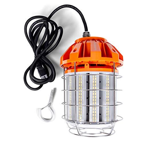 Hyperikon 125W LED Temporary Work Light Hanging for Construction/Workshop/Jobsite, Corded Portable LED Work Light Fixture, 5000K, 120V, UL