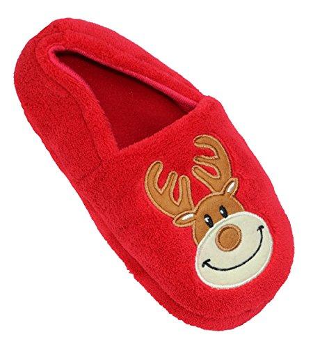 Family PJs Boys/Girls Kids Reindeer Christmas Cushioned Plush Slippers (Medium, (Childrens Christmas Slippers)