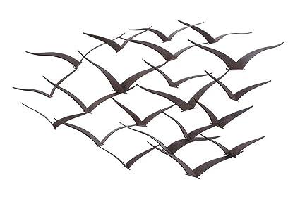Amazon.com: Deco 79 Brown Flying Birds Modern Metal Wall Art Décor ...