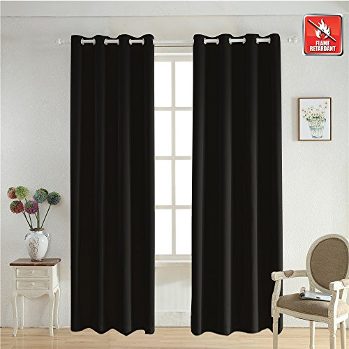 BEGOODTEX Flame Retardant Curtains Fire Resistant Room Darkening Blackout Window Curtains, Black, 8 Silver Grommet, 52Wx84L Inch,Pack of 1 Panel