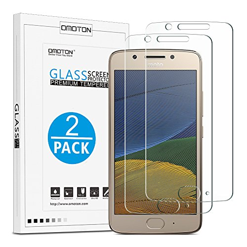 [ Pack of 2] Moto G5 Glass Screen Protector, OMOTON Tempered Glass Screen...