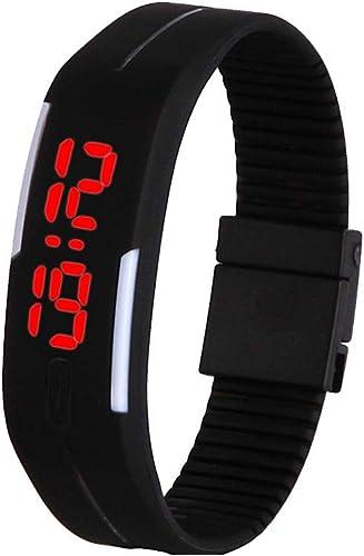 Nicedier-Tech Los Estudiantes del Reloj Pantalla táctil Digital de Led Relojes de Pulsera de Silicona con Brazalete del Reloj de Pulsera de la Venda para los niños (Negro): Amazon.es: Joyería